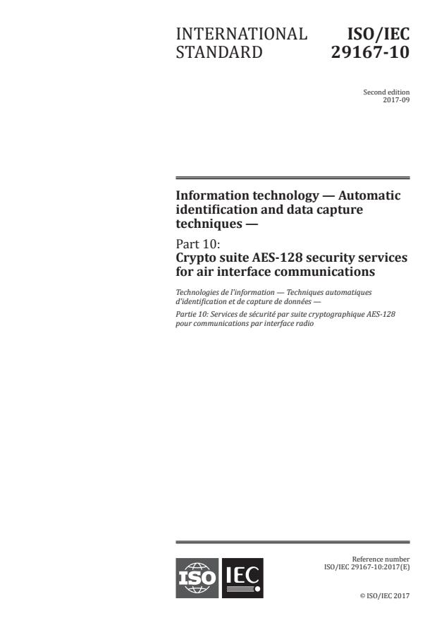 ISO/IEC 29167-10:2017 - Information technology -- Automatic identification and data capture techniques