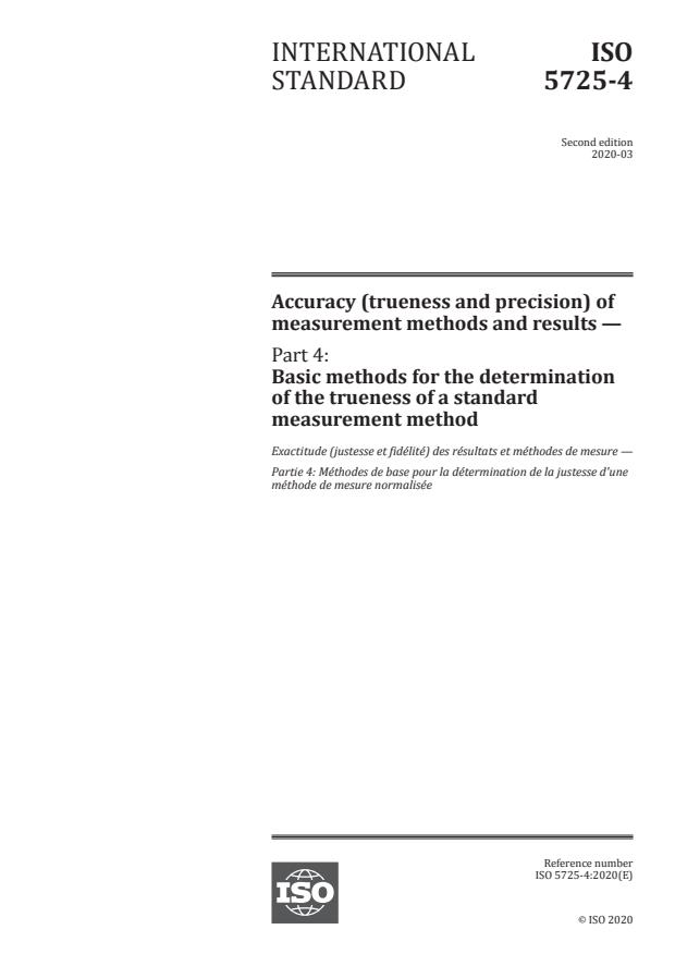 ISO 5725-4:2020 - Accuracy (trueness and precision) of measurement methods and results