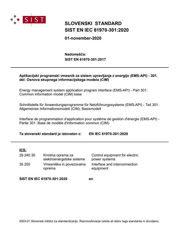 SIST EN IEC 61970-301:2020