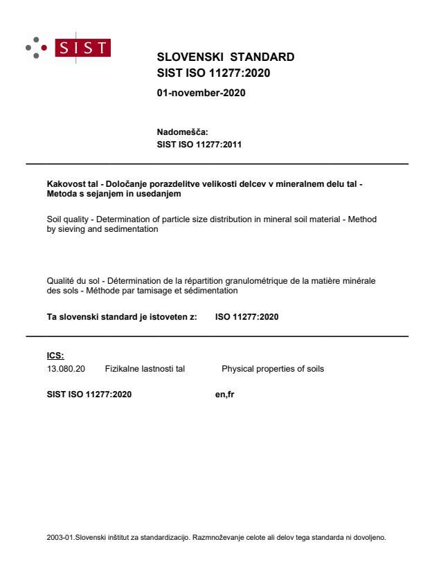 SIST ISO 11277:2020