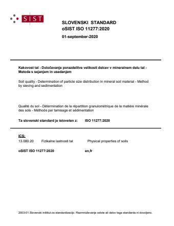 oSIST ISO 11277:2020