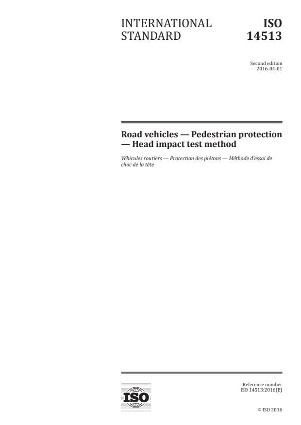 ISO 14513:2016 - Road vehicles -- Pedestrian protection -- Head impact test method