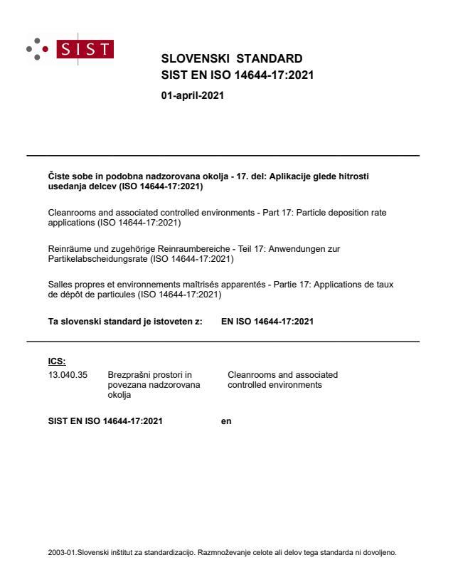 SIST EN ISO 14644-17:2021