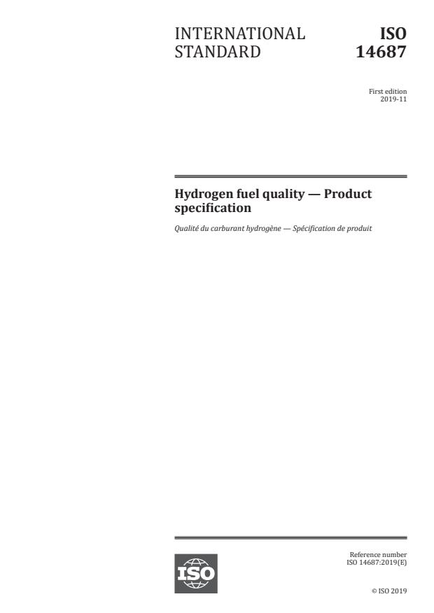 ISO 14687:2019 - Hydrogen fuel quality -- Product specification