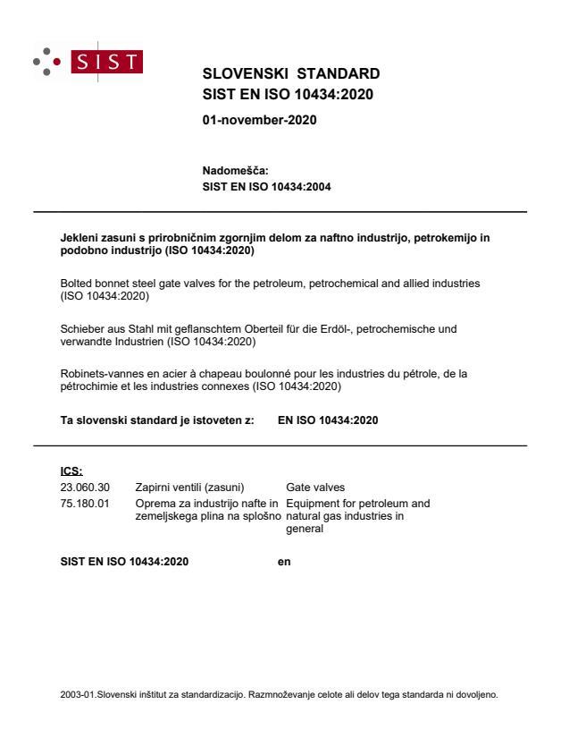 SIST EN ISO 10434:2020