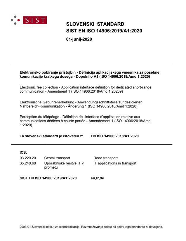 EN ISO 14906:2018/A1:2020