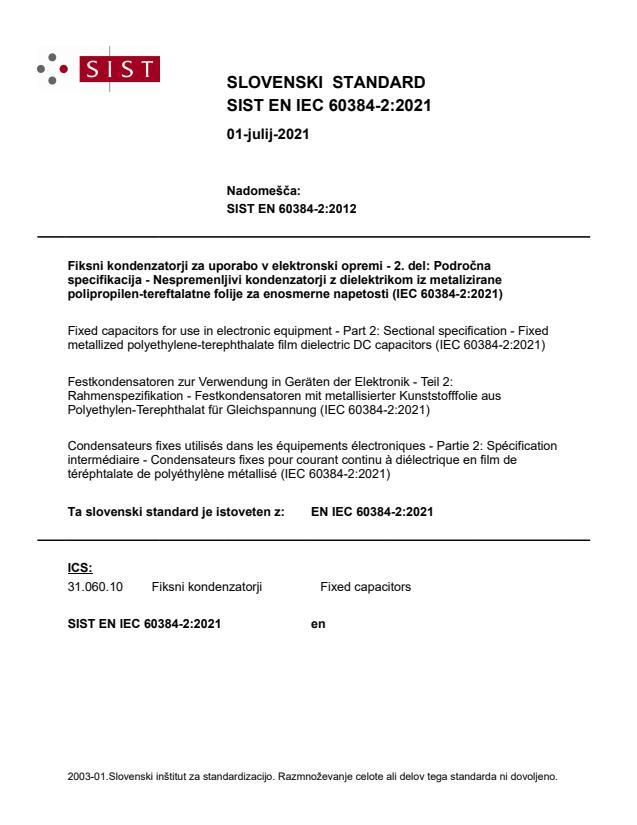 SIST EN IEC 60384-2:2021