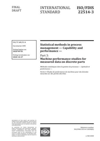 ISO/FDIS 22514-3:Version 13-okt-2020 - Statistical methods in process management -- Capability and performance