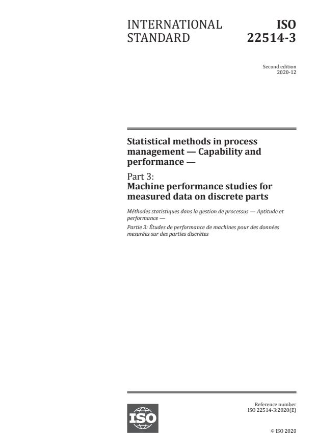 ISO 22514-3:2020 - Statistical methods in process management -- Capability and performance