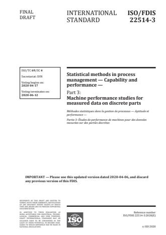 ISO/FDIS 22514-3 - Statistical methods in process management -- Capability and performance