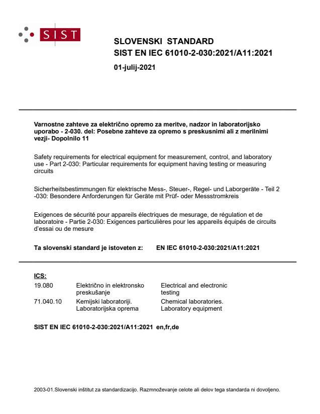 SIST EN IEC 61010-2-030:2021/A11:2021