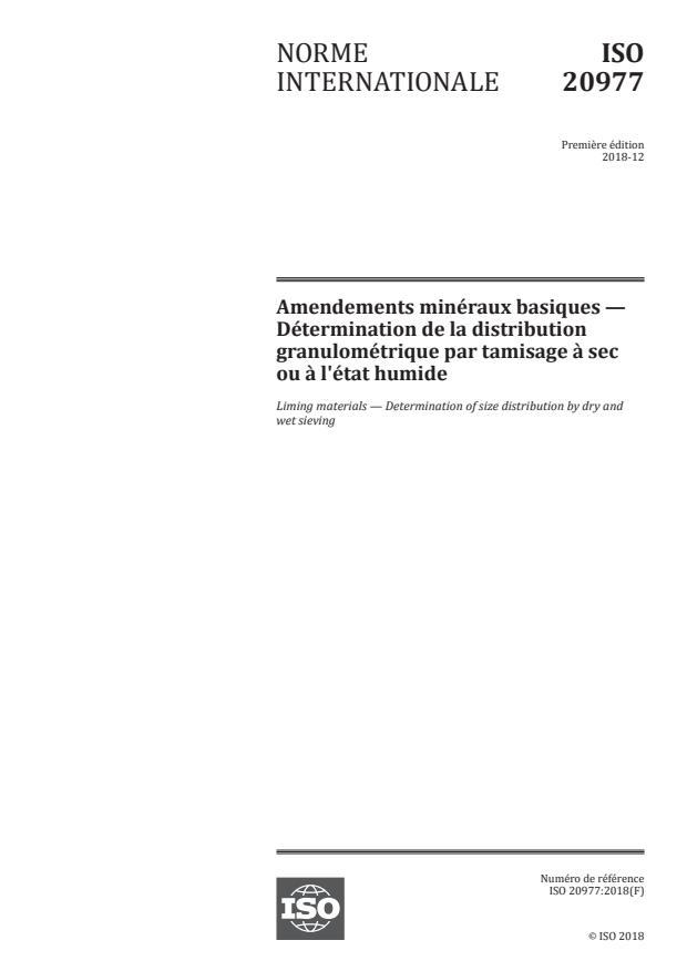 ISO 20977:2018 - Amendements minéraux basiques -- Détermination de la distribution granulométrique par tamisage a sec ou a l'état humide