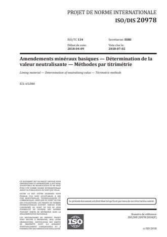 ISO 20978:2020 - Amendements minéraux basiques -- Détermination de la valeur neutralisante -- Méthodes par titrimétrie