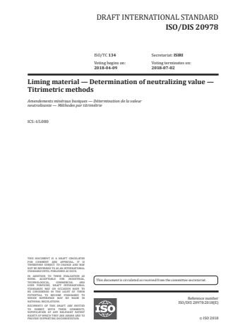 ISO 20978:2020 - Liming material -- Determination of neutralizing value -- Titrimetric methods