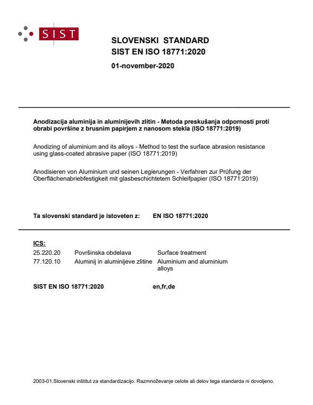 SIST EN ISO 18771:2020