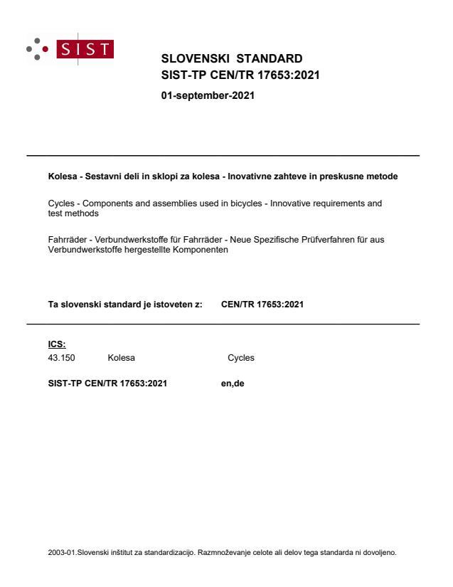 SIST-TP CEN/TR 17653:2021