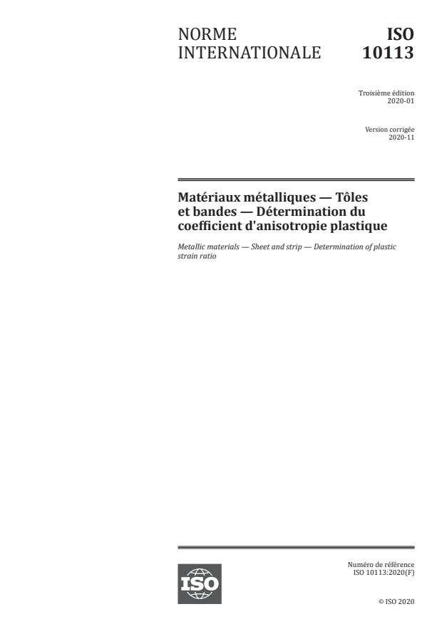 ISO 10113:2020 - Matériaux métalliques -- Tôles et bandes -- Détermination du coefficient d'anisotropie plastique
