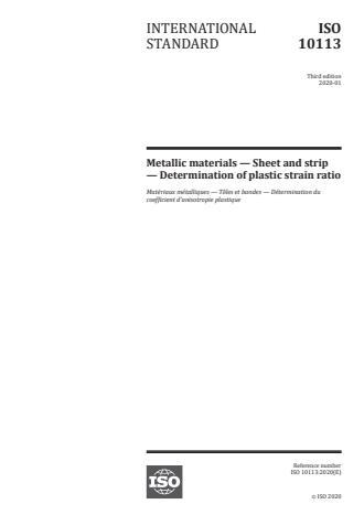 ISO 10113:2020:Version 24-apr-2020 - Metallic materials -- Sheet and strip -- Determination of plastic strain ratio