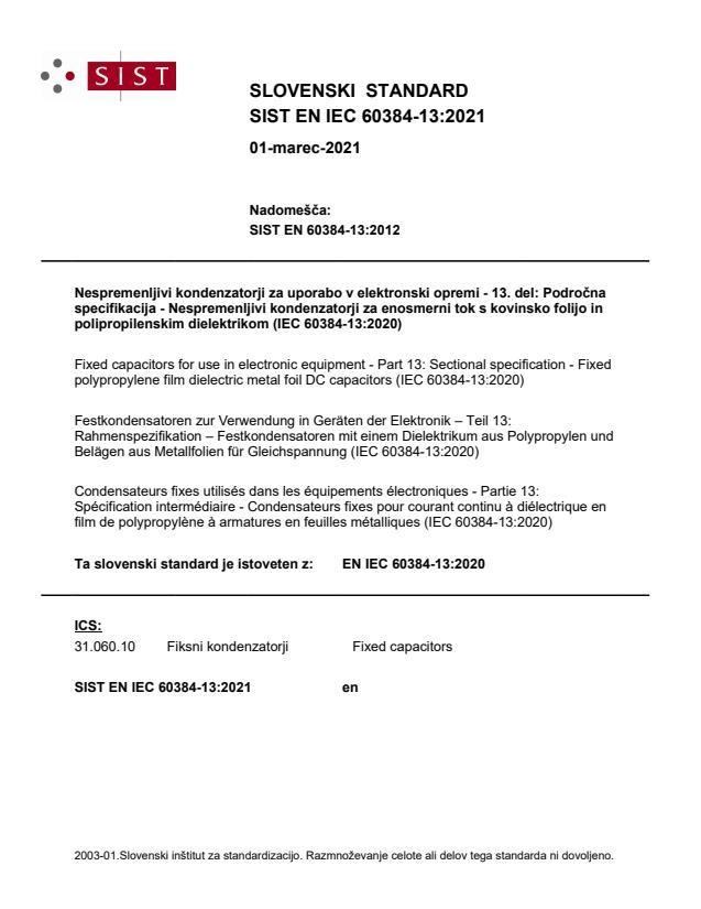 SIST EN IEC 60384-13:2021