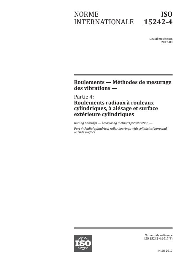ISO 15242-4:2017 - Roulements -- Méthodes de mesurage des vibrations