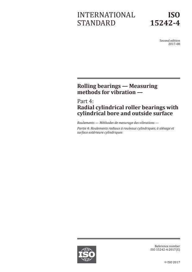 ISO 15242-4:2017 - Rolling bearings -- Measuring methods for vibration