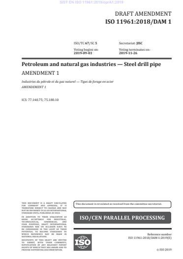 SIST EN ISO 11961:2019/oprA1:2019