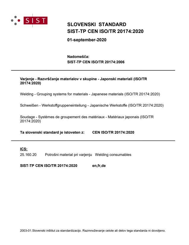 SIST-TP CEN ISO/TR 20174:2020