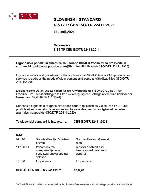 SIST-TP CEN ISO/TR 22411:2021 - BARVE
