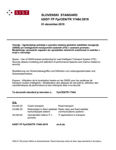 kSIST-TP FprCEN/TR 17464:2019 - BARVE