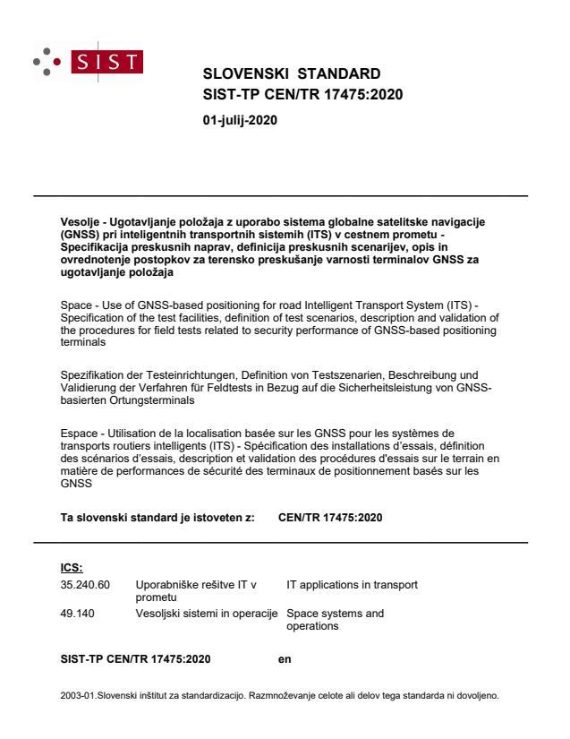 SIST-TP CEN/TR 17475:2020 - BARVE