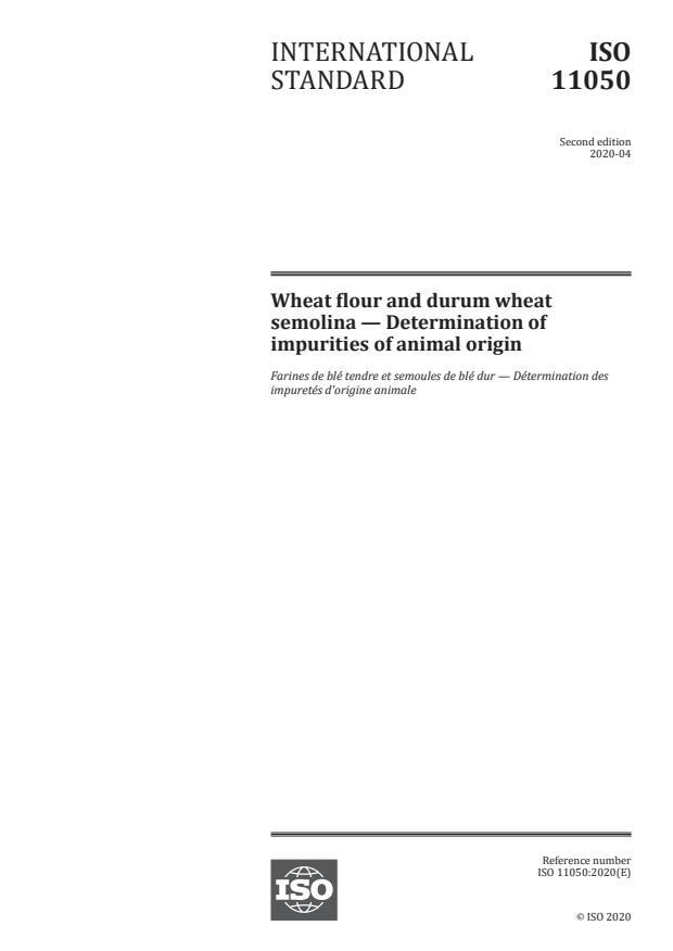 ISO 11050:2020 - Wheat flour and durum wheat semolina -- Determination of impurities of animal origin