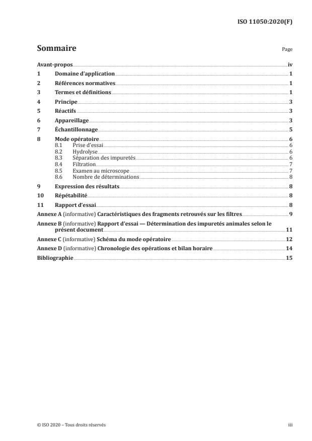 ISO 11050:2020 - Farines de blé tendre et semoules de blé dur -- Détermination des impuretés d'origine animale
