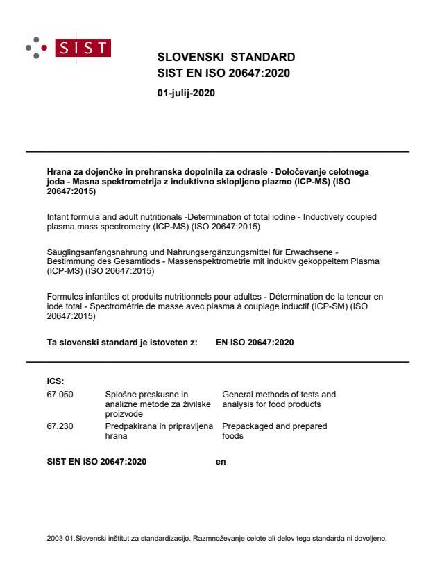 SIST EN ISO 20647:2020