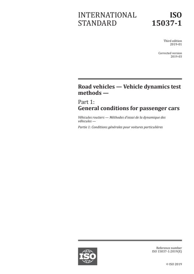 ISO 15037-1:2019 - Road vehicles -- Vehicle dynamics test methods