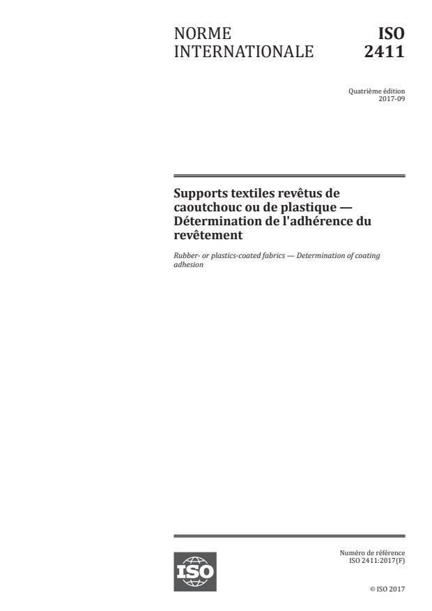 ISO 2411:2017 - Supports textiles revetus de caoutchouc ou de plastique -- Détermination de l'adhérence du revetement