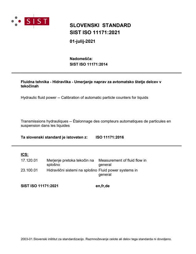 SIST ISO 11171:2021