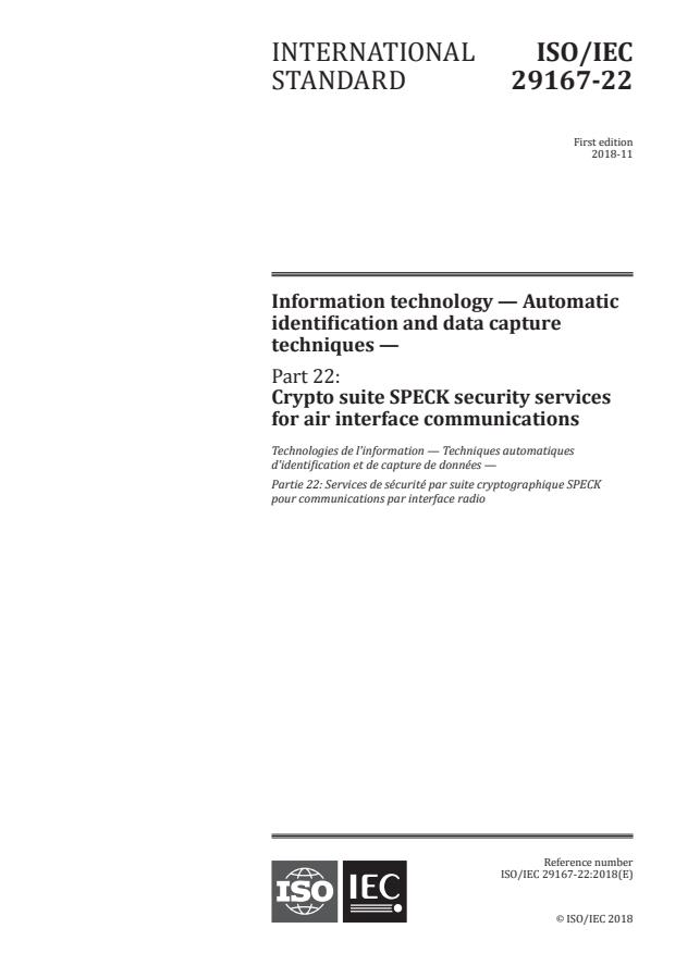 ISO/IEC 29167-22:2018 - Information technology -- Automatic identification and data capture techniques