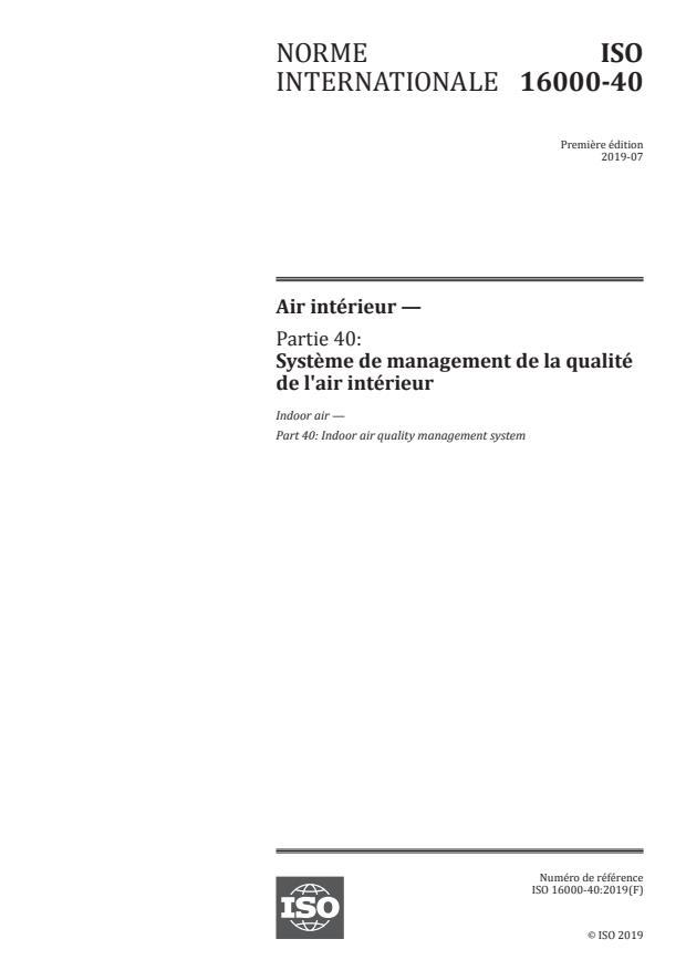 ISO 16000-40:2019 - Air intérieur