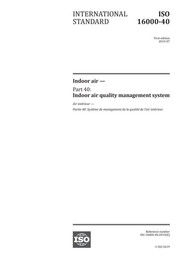 ISO 16000-40:2019 - Indoor air