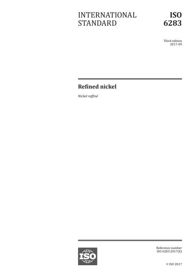 ISO 6283:2017 - Refined nickel