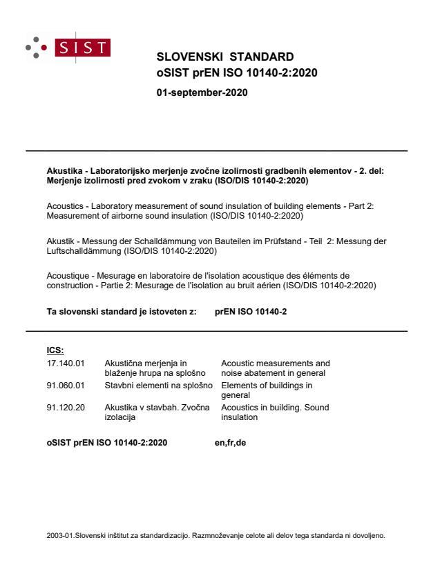 oSIST prEN ISO 10140-2:2020