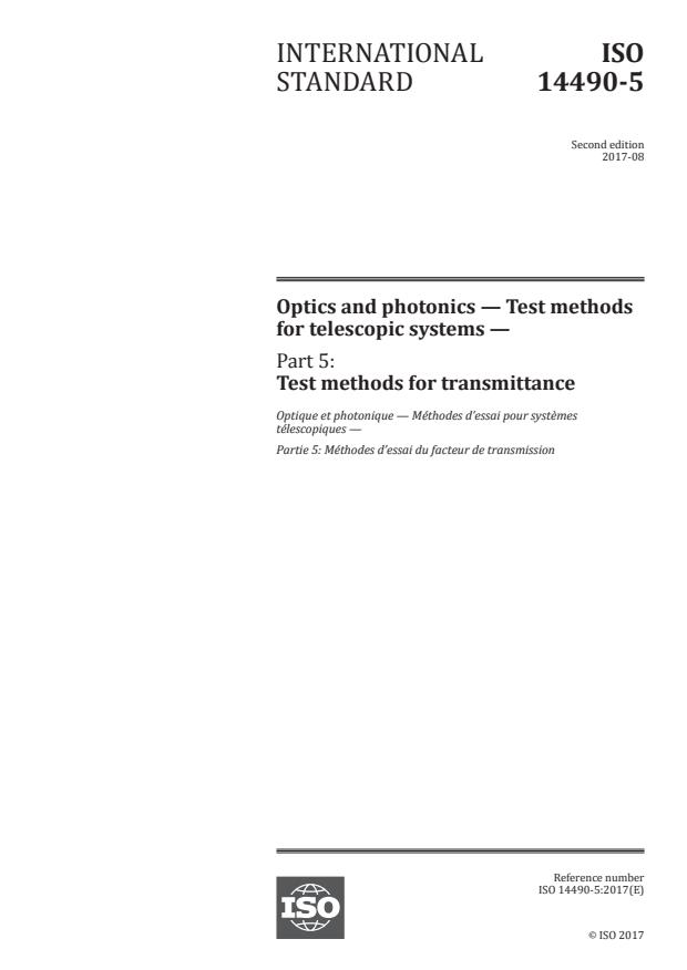ISO 14490-5:2017 - Optics and photonics -- Test methods for telescopic systems