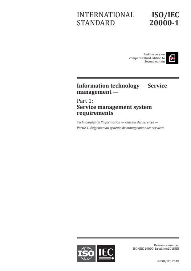 REDLINE ISO/IEC 20000-1:2018 - Information technology -- Service management