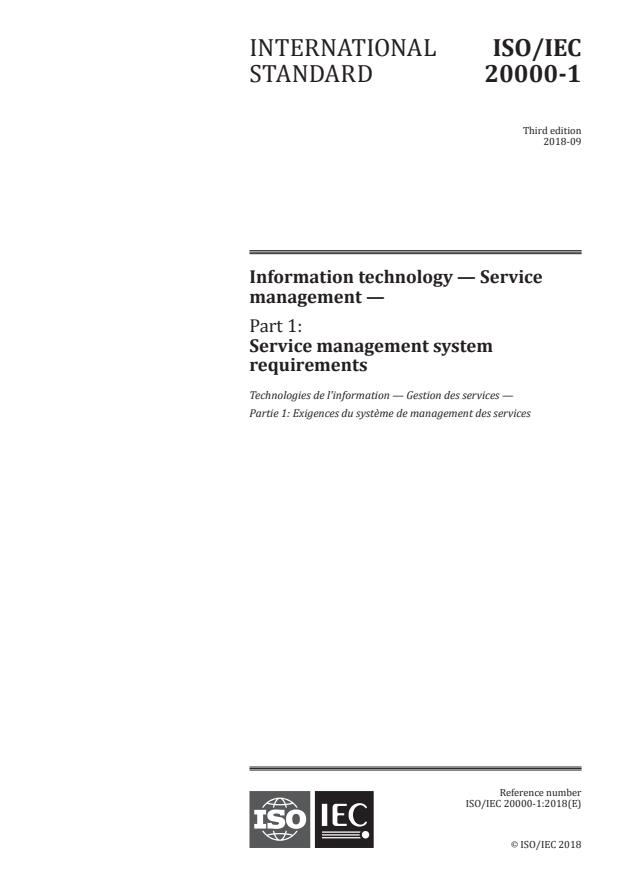 ISO/IEC 20000-1:2018 - Information technology -- Service management
