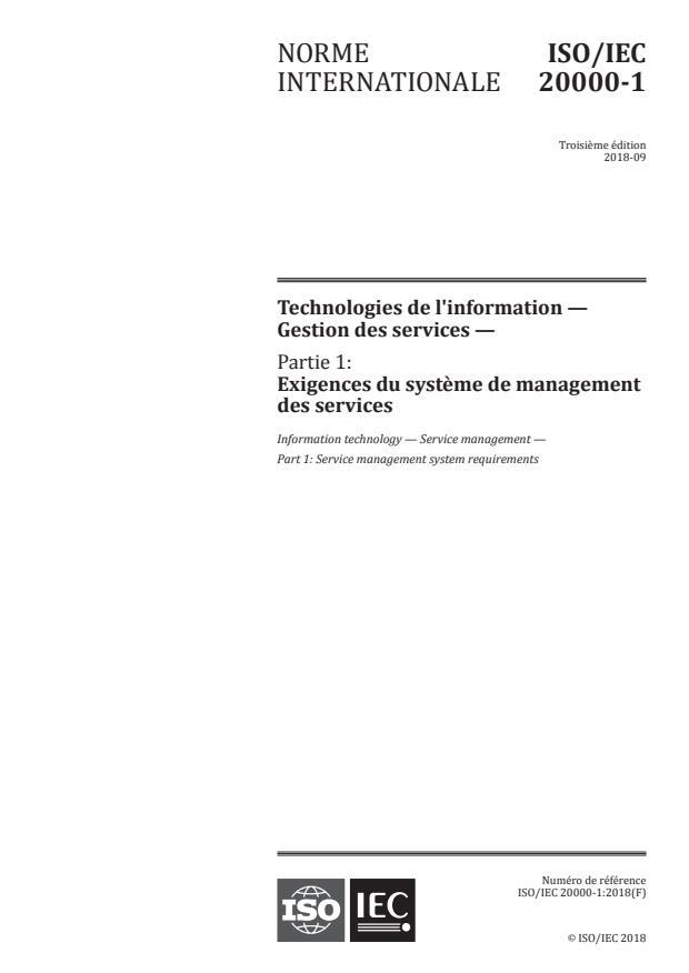 ISO/IEC 20000-1:2018 - Technologies de l'information -- Gestion des services