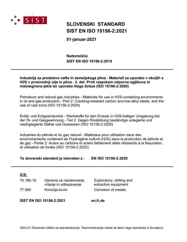 SIST EN ISO 15156-2:2021
