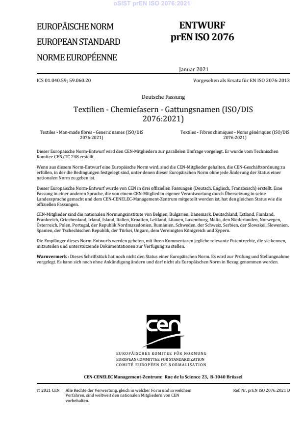 prEN ISO 2076