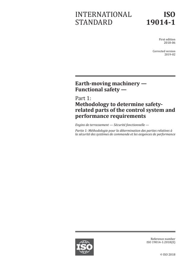 ISO 19014-1:2018 - Earth-moving machinery -- Functional safety