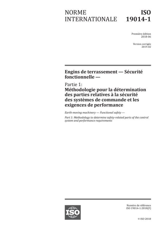 ISO 19014-1:2018 - Engins de terrassement -- Sécurité fonctionnelle