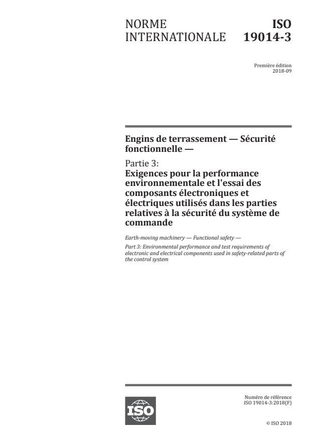 ISO 19014-3:2018 - Engins de terrassement -- Sécurité fonctionnelle